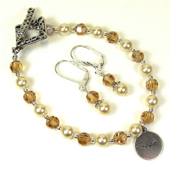 Reserved for Sherry, Pearl Bracelet Ivory Pearl and Crystal Bracelet and Earrings