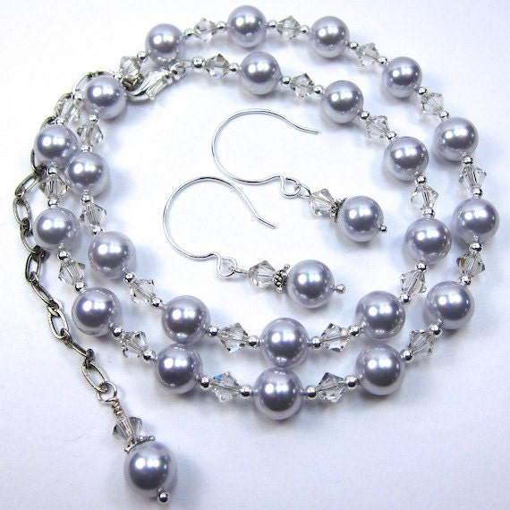 Light Purple Lavender Pearl Necklace Combo with Crystal Silver Shade Swarovski Crystals Necklace and Earring Set