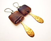 Abiquiu Earrings: Banded Matte Onyx, Solid Brass Drops, and Antiqued Brass Earrings - Limited Edition