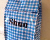 Baby Blue Gingham Oilcloth Lunch Bag with free monogrammed embroidery