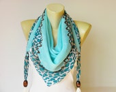 Scarf,square made to triangel scarf with beads and tassels,