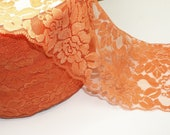 "5 1/2"" Width Matte Orange Stretch Lace"