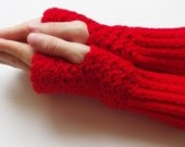 ready to ship Hand Crochet Fingerless Gloves mittens hot red christmas gift for her