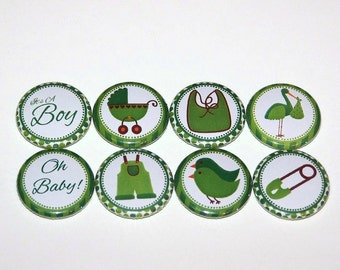 "Baby Shower Boy Green 1 Inch Pin Back Buttons 1"" Pins or Magnets"