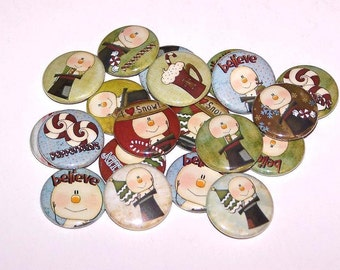 "Holiday Snowman & Treats Set of 10 Buttons 1"" Pins or Magnets"