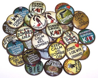 """Zombies Pins Zombie Party Favors Assortment Set of 10 Buttons 1"""" or 1.5"""" Pin Back Buttons or 1"""" Magnets"""