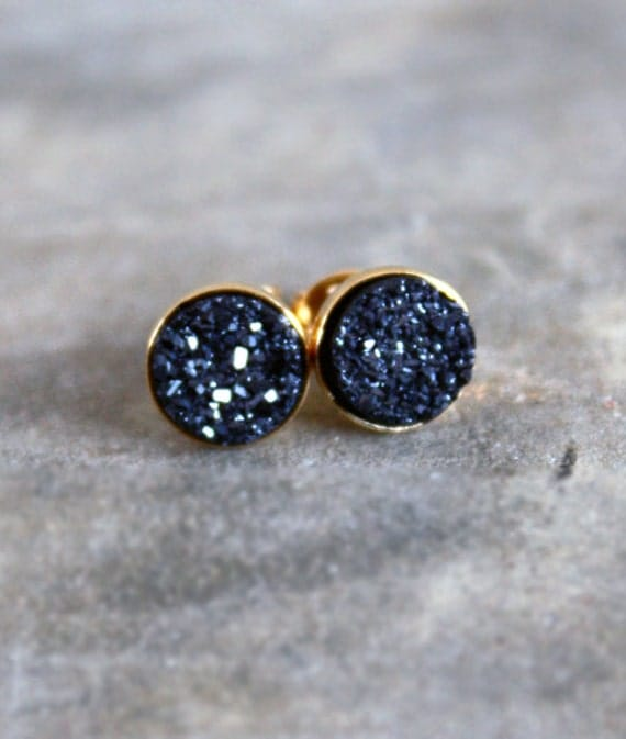 LAST PAIR - Druzy Stud Earrings - Black