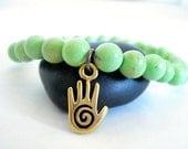 Turquoise Yoga Bracelet, Green Turquoise, Brass Spiral Hand Charm, Yoga or Meditation Bracelet