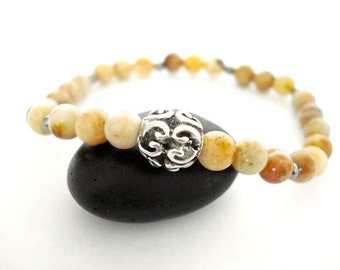 Jasper Meditation Bracelet, Autumn Jasper, Silver, Handmade  Beaded Bracelet