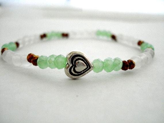 Silver Heart Yoga Bracelet, Green Opal, Bronze, Silver Heart Beaded Bracelet