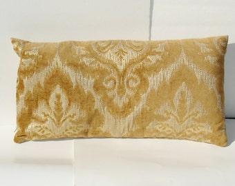Sale- decorative IKAT Pillow Cover -light  brown - cream - caramel - natural - Lumbar Throw Pillow- 13 x 24