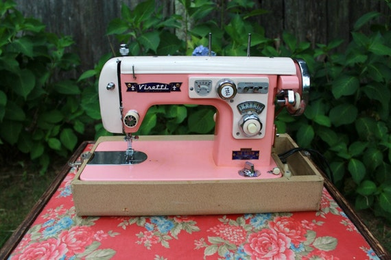 Reserve for Mardi Do Not Purchase if You Are Not Mardi Vintage Sewing Machine Visetti 1950s Pink Refurbished