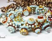 AV-Beads lampwork Bracelet in skyblue, topas and ivory SRA