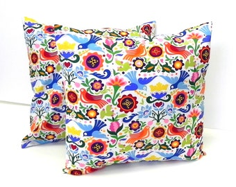 Pillow Covers. Set of TWO 16x16. Doves and flowers in rainbow colors