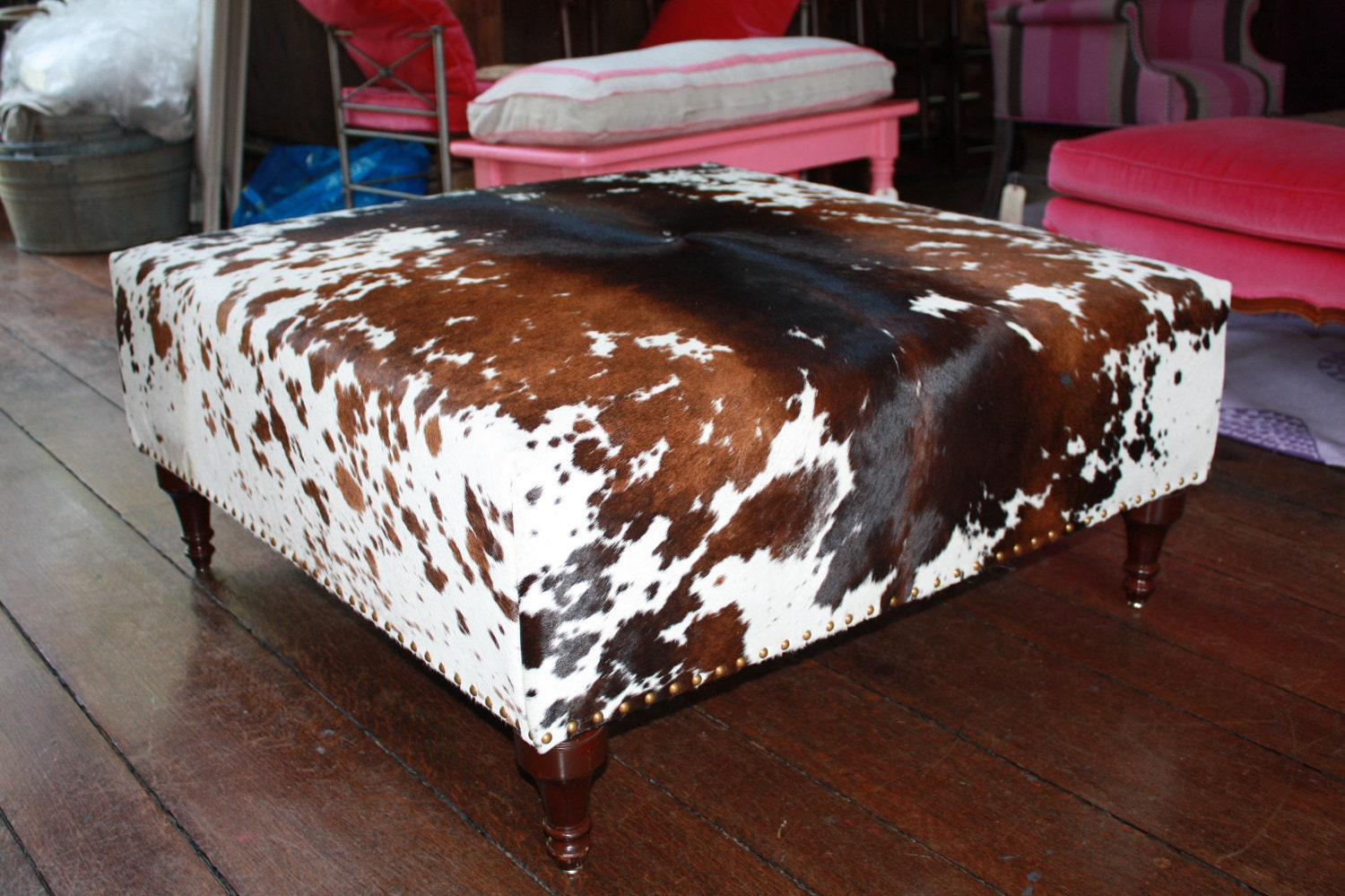 Large Square Ottoman Totally Refurbished And Recovered With