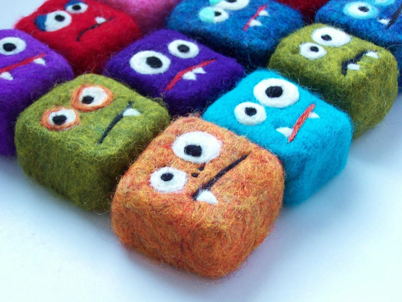 felted soap mini monster wholesale 12 random monsters. Black Bedroom Furniture Sets. Home Design Ideas