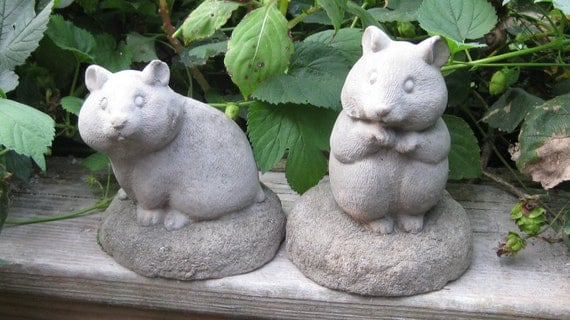 Concrete Hamster Statues Set of 2 for House or Garden