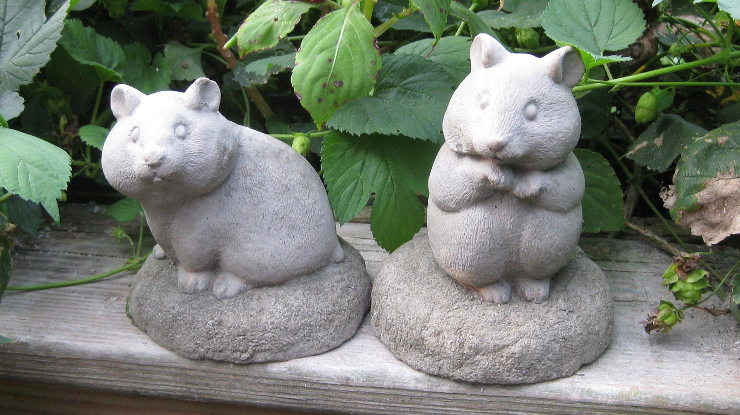 Hamster Statues Set Of 2 For House Or Garden   Concrete