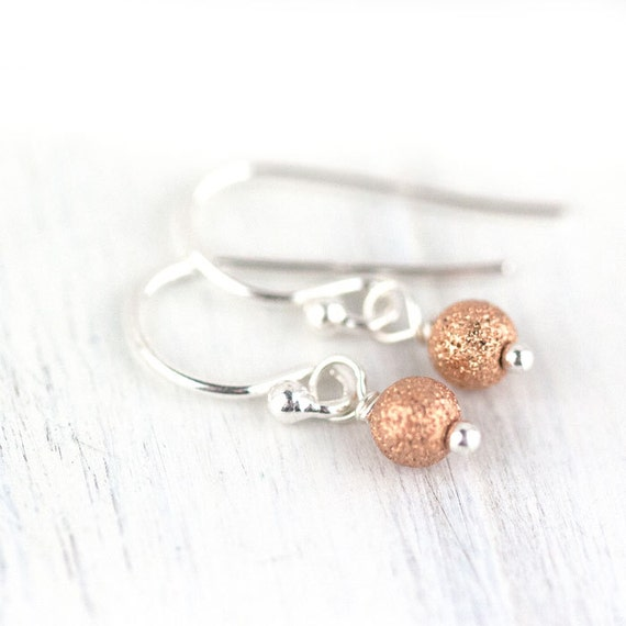 Tiny Rose Gold Stardust Earrings / Pretty Little Pink Rose Gold Earrings on Sterling Silver Earwires