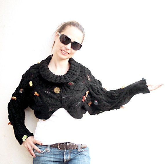Knit Black Shrug Turtleneck/ Knitting by Solandia/ Black Sweater/ Hand Knit Shrug/ Knitted Sweater/ Autumn/ Spring Shawl Long Sleeve
