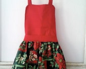 Red Poinsettia Full Front Kids Apron