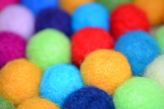 Felted Wool Balls. 100ct. Multicolored Crafts Projects Garlands
