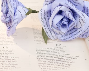 Paper Shakespeare Sonnet Hand Painted Rose