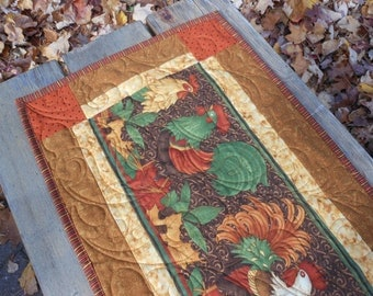 Rooster Chicken Quilted Table Runner, Fall Quilted Table Runner, Fall Autumn Quilted Table Topper