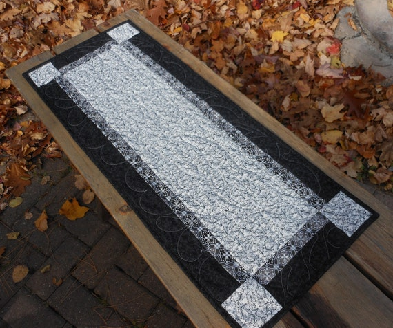 Black White And Gray Quilted Table Runner