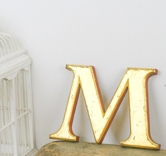 Reserved for Maud Vintage Shop front letter M, 24 carat gold leaf, shop front antique signage industrial