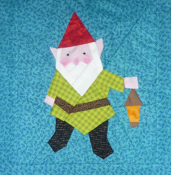 Gnome Quilt Block Paper Pieced Pattern PDF Pattern