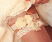 Wedding Garter / Vintage Garter /  Wedding Garter Set Toss Garter included  Ivory with Rhinestones and Pearls  Custom Wedding colors
