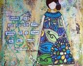 """mixed media canvas  - 16"""" x 20"""" - she art"""