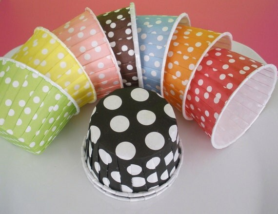 Reserved for Jenny.....10 Black Polka Dot (small) Cups....10 Yellow Dot Cups.....10 Red Stripe Cups