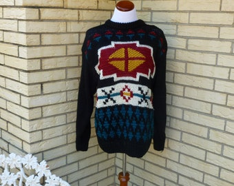 1980s Oversized SW Sweater Southwest Native American Chunky Knit Womens Vintage Small