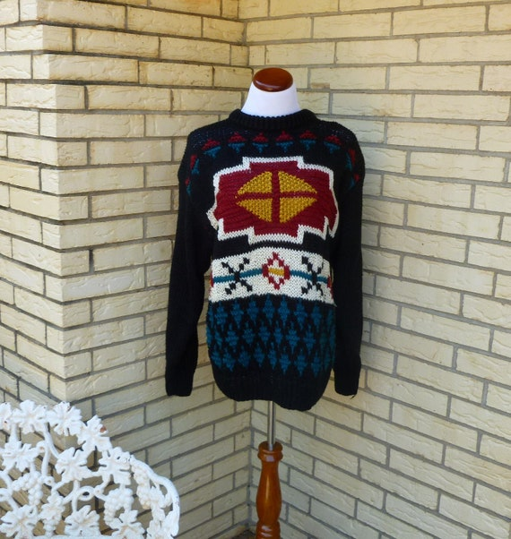 1980s Oversized SW Sweater Southwest Native American Chunky Knit Womens Vintage Small SALE
