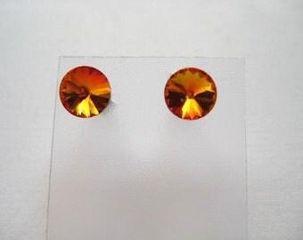 24ss Swarovski Rivoli Rhinestone Fire Opal Post Earrings 1 Pair