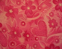 Breast Cancer Hearts Fowers Pink Ribbons Cotton Fabric Fat Quarter or Custom Listing