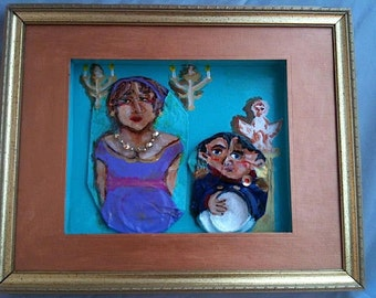 REDUCED! Napoleon and Josephine: Crushed Can Art Paintings with Repurposed Materials