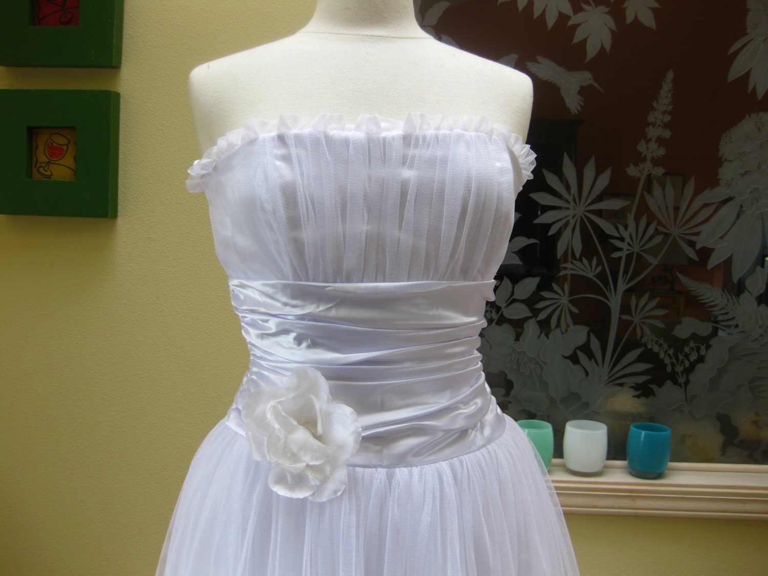 Jessica McClintock white wedding gown party dress S