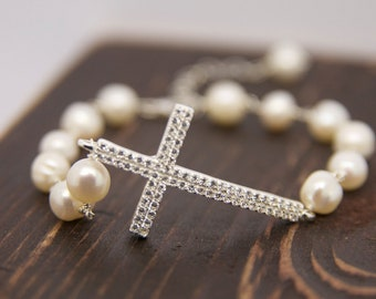 CZ Custom Side Cross Bracelet,Mothers Day Gifts, Personalized Gifts, Bridal Jewelry
