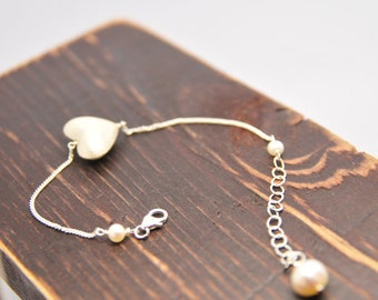 Everyday Heart Bracelet,Sterling Silver Gifts, Holiday Gifts for Her, Heart Gifts