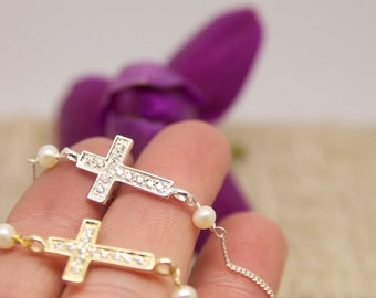 CZ Side Cross Bracelet, Gifts for Her, Gifts for Teens, Side Cross Gifts, Bridesmaid Gifts