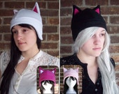 Cat Fleece Hat - Any Color - Black, White, Pink, Gray - Adult, Teen, Kid - A winter, nerdy, geekery gift!