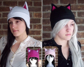 Cat Fleece Hat - Any Color - Black, White, Pink, Gray - Fleece Hat Adult, Teen, Kid - A winter, nerdy, geekery gift!
