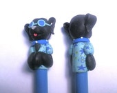 New Cute Polymer Clay Black Dog Pen with Sunglasses with Blue Shirt
