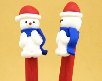 New Cute Fimo Polymer Clay Winter Christmas Snowman Red Hat