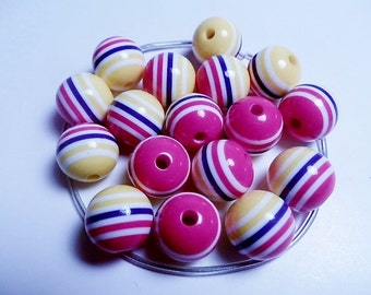 10 Resin Acrylic Pink Fuschia Blue Yellow Stripe Multicolor Round Beads 12mm
