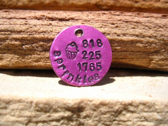 The Sprinkles (#109) - Pink Cupcake Handstamped Pet ID Tag Small Dog Cat