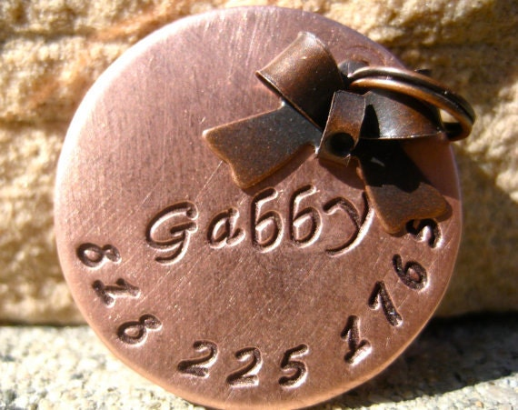 The Gabby (#041)- Antique Copper Bow Pet ID Tag Small Dog Cat Feminine Unique Handstamped